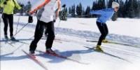 Vacanze in montagna sulla neve in Valle d' Aosta: sci di fondo sulla pista nel bosco di Sylvenoire a Cogne
