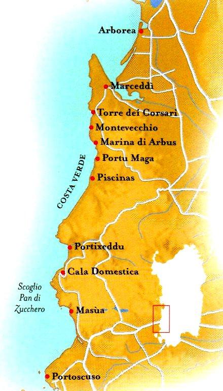 Cartina Spiagge Sardegna Nord.Sardegna Costa Verde Viaggio Da Portoscuso Ad Arborea Spiagge Hotel Ristoranti Terme Musei Io Viaggi Blog
